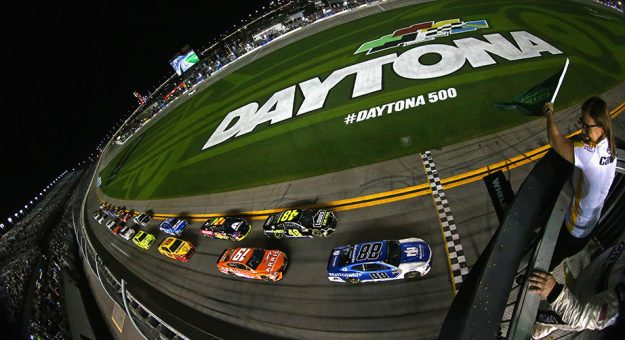 Daytona Beach Fl February 15 Alex Bowman Driver Of The 88 Nationwide Chevrolet Takes Green Flag To Start Monster Energy Nascar Cup Series