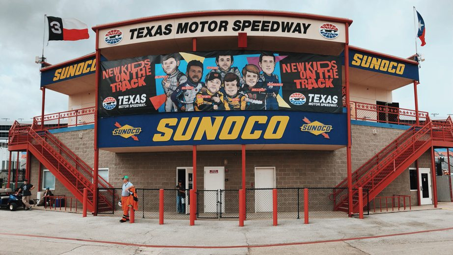 New Kids on the Track sign at Texas.