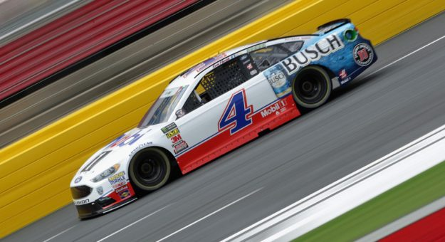 Kevin Harvick zips around the track at Charlotte Motor Speedway.