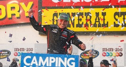 Iowa native Brett Moffitt holds off late charge from Noah Gragson to win at home track