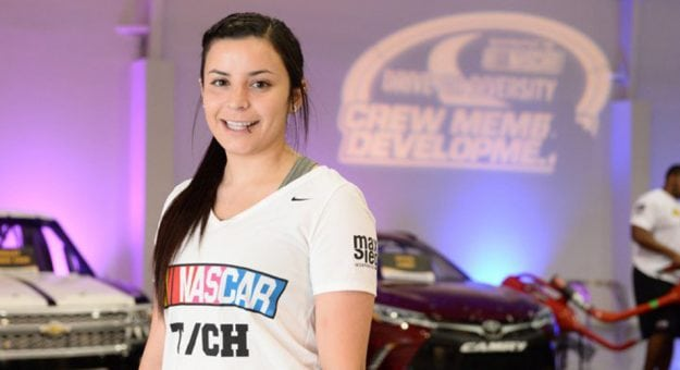 Breanna O'Leary poses for a photo at the NASCAR Drive for Diversity Pit Crew Combine.