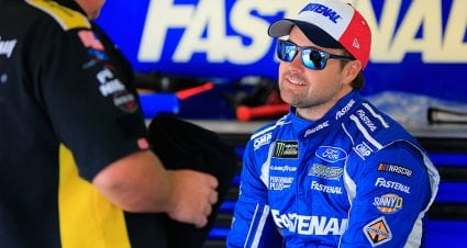 All down the line: Stenhouse Jr. tightens up the belts