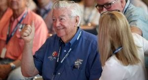 Bobby Allison reacts to his son Davey being elected to the NASCAR Hall of Fame