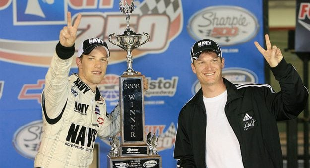 Brad Keselowski celebrating with Dale Jr.