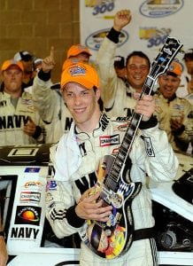 Brad Keselowski with fun victory trophy