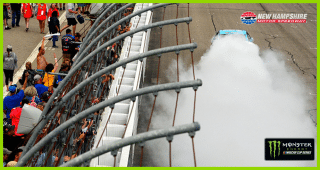 Wicked big burnout for Harvick at New Hampshire