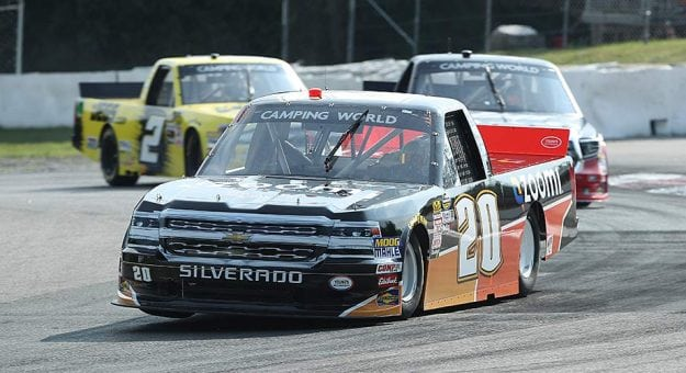 Max Tullman's No. 20 Chevrolet leads a pack during Canadian Tire Motorsport Park practice.