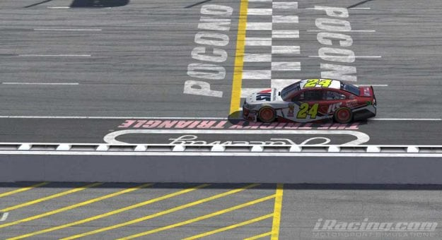 Keegan Leahy No. 24 iRacing car at Pocono Raceway