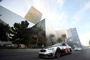 LAS VEGAS, NV - NOVEMBER 29: Kevin Harvick, driver of the #4 Jimmy John's Ford drives during the NASCAR Victory Lap Fueled by Sunoco on November 29, 2017 in Las Vegas, Nevada. (Photo by Chris Graythen/Getty Images) | Getty Images