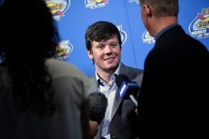 LAS VEGAS, NV - NOVEMBER 29: Erik Jones speaks with the media following the NASCAR NMPA Myers Brothers Awards at the Encore Theater at Wynn Las Vegas on November 29, 2017 in Las Vegas, Nevada. (Photo by David Becker/Getty Images) | Getty Images