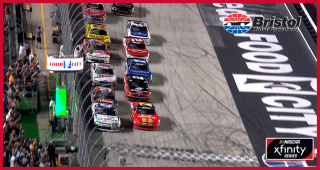 Larson edges ahead of Allgaier on final restart at Bristol