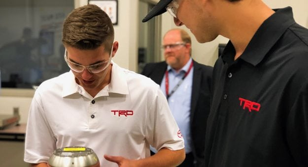 Noah Gragson and Todd Gilliland tour the Toyota Research and Development facility in Michigan.