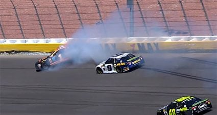 Chase Elliott, Jamie McMurray forced from Vegas race after collision