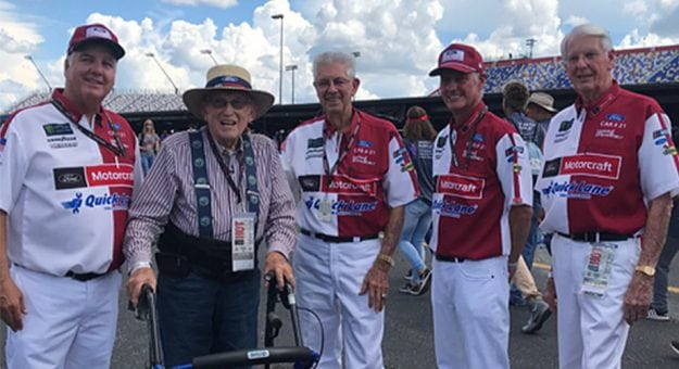 Longtime Ford owner and NASCAR fan Wallace Strader meets the Wood Brothers.