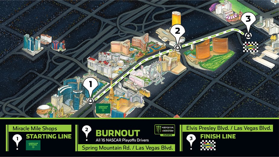 The route for Burnout Blvd presented by Sunoco