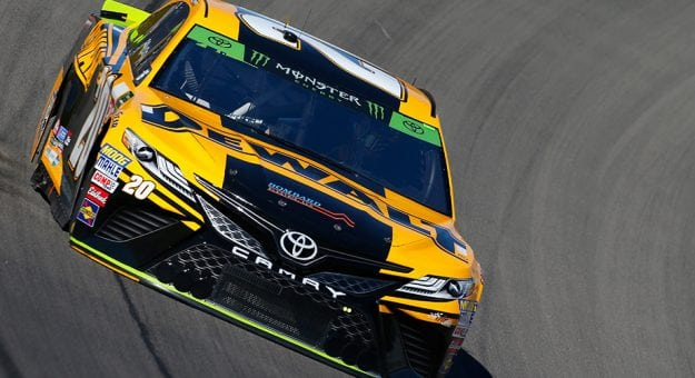 Erik Jones's No. 20 DeWalt Toyota on track during practice for the Monster Energy NASCAR Cup Series SouthPoint 400 at Las Vegas Motor Speedway