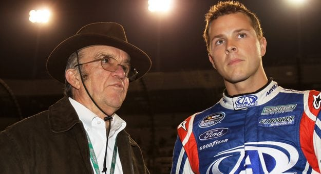 Team owner Jack Roush talks to driver Trevor Bayne