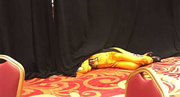 Kyle Busch taking a quick nap
