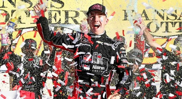 John Hunter Nemechek celebrates his first Xfinity Series win in Victory Lane at Kansas Speedway