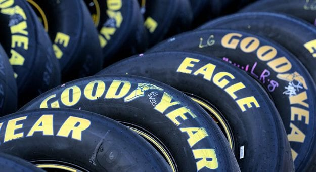 Goodyear tires sit at the ready for last year's fall event at Texas Motor Speedway