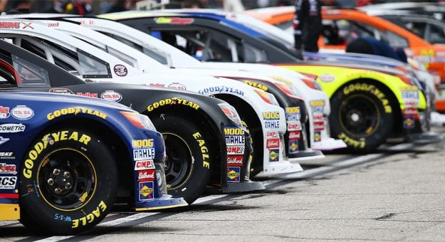 Cars lined up on the grid