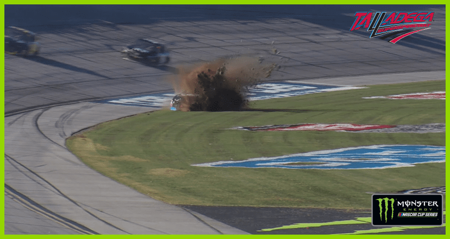 Jamie McMurray blows tire, hits wall and winds up in grass
