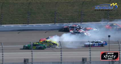 Xfinity playoff drivers involved in wreck on opening lap at Kansas