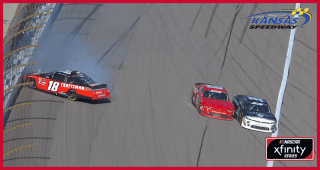 Preece gets into the wall after going three-wide