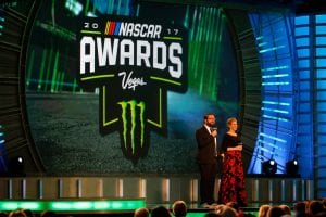 LAS VEGAS, NV - NOVEMBER 30: Television personalities Rutledge Wood and Krista Voda speak on stage during the Monster Energy NASCAR Cup Series awards at Wynn Las Vegas on November 30, 2017 in Las Vegas, Nevada. (Photo by Jonathan Ferrey/Getty Images) | Getty Images