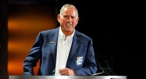 David Pearson speaks at the podium during the induction ceremony for the NASCAR Hall of Fame Class of 2011.
