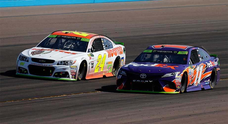 Chase Elliott and Denny Hamlin at Phoenix