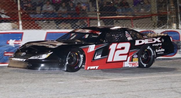 Harrison Burton takes a lap during qualifying for the Snowball Derby.