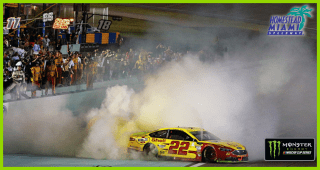 Logano burns it down to celebrate a championship