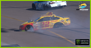 Joey Logano spins at Phoenix, ending his day