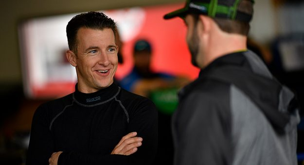 AJ Allmendinger in the IMSA garage ahead of the Rolex 24 at Daytona International Speedway.