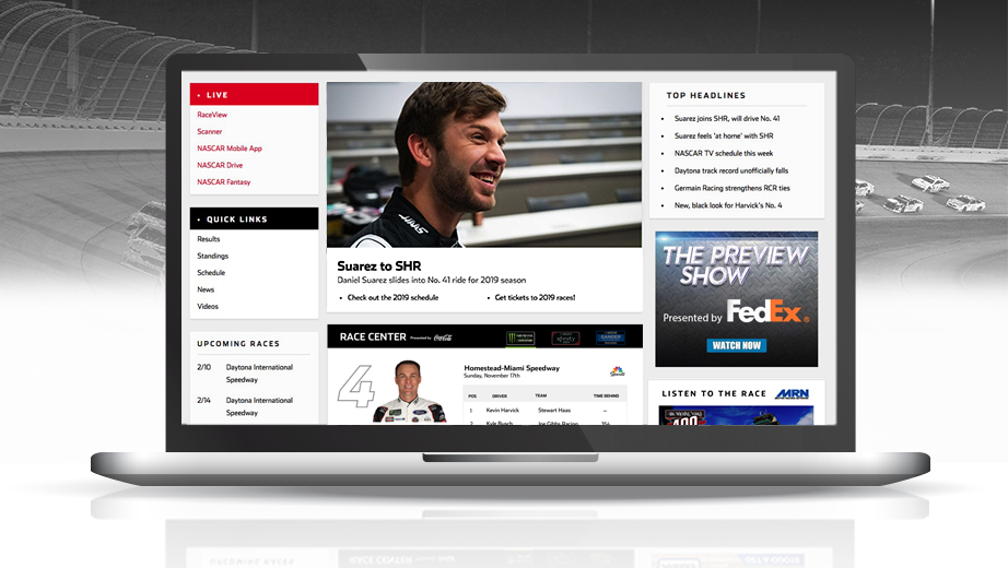 New NASCAR.com homepage features fresh looks, easy-to-find essentials
