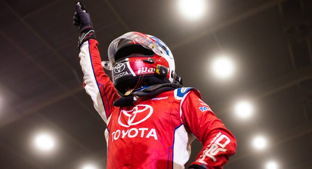 Christopher Bell celebrates winning at the Chili Bowl.