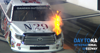 Decker's truck catches fire coming down pit road