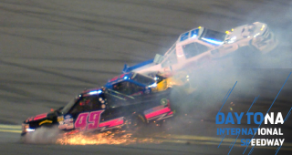 Big wreck involving three trucks in Stage 2 at Daytona