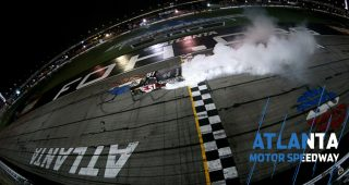Busch celebrates record breaker with burnout, bow