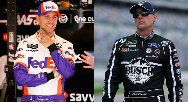 A two-panel image of Denny Hamlin and Kevin Harvick.