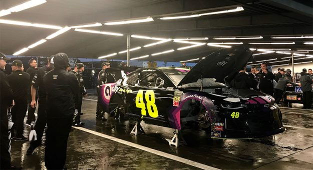 Jimmie Johnson's car gets inspected