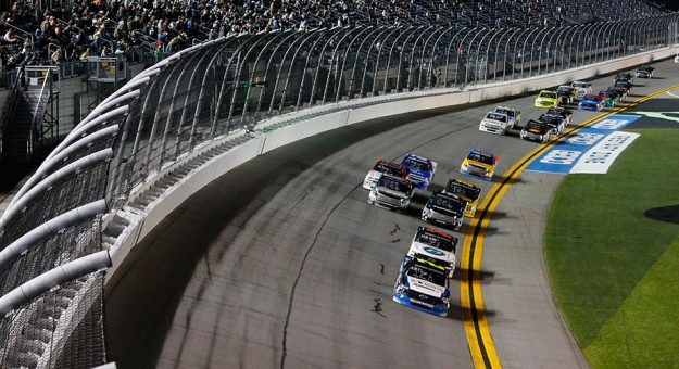 Sheldon Creed leads the field in the Truck Series race at Daytona.