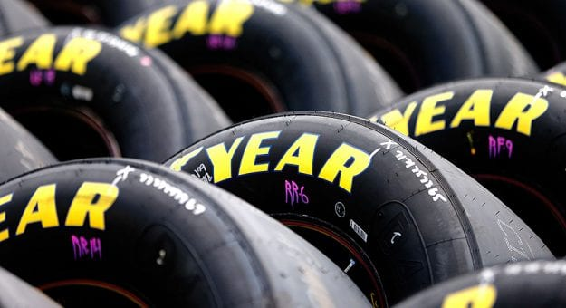 Goodyear tires sit at the ready for a 2018 event.