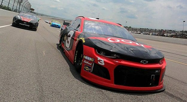 Austin Dillon's No. 3 Chevrolet leads the field during pace laps at Talladega. the fi