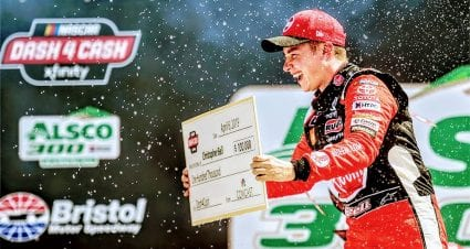 Bell collects first victory at Bristol, Dash 4 Cash prize