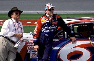 UNKNOWN:  NASCAR Cup car owner Jack Roush (L) and driver Mark Martin keep an eye on the action from pit road. (Photo By ISC Images & Archives via Getty Images)