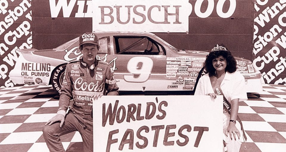 TALLADEGA, AL - APRIL 30:  Bill Elliott set the fastest lap in NASCAR history, running 212.809 mph at Talladega Superspeedway on April 30, 1987 in Talladega, Alabama. At Daytona the following July, cars were equipped with smaller carburetors to limit horsepower. When the 1988 season opened, restrictor plates were back in use for the first time in 17 years.  (Photo by ISC Archives via Getty Images)