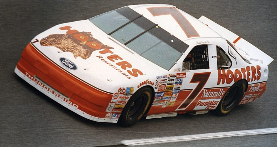 1992:  Driving his own Hooters Ford Thunderbird, Alan Kulwicki won the 1992 NASCAR Winston Cup Championship.  (Photo by ISC Archives via Getty Images)
