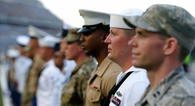 DAYTONA BEACH, FL - JULY 07:  Members of the military are honored prior to the start of the Monster Energy NASCAR Cup Series Coke Zero Sugar 400 at Daytona International Speedway on July 7, 2018 in Daytona Beach, Florida.  (Photo by Brian Lawdermilk/Getty Images) | Getty Images